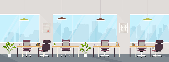 Office interior modern creative space with empty workplaces. Office space with panoramic windows, co-working center. clipart