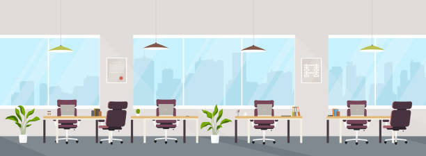 office interior modern creative space with empty workplaces. office space with panoramic windows, co-working center. - office stock illustrations