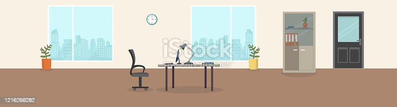 istock Office interior modern creative space with empty workplaces. Office space with panoramic windows, Office Backrounds. 1216266282