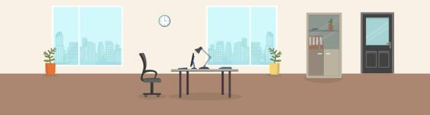 stockillustraties, clipart, cartoons en iconen met kantoor interieur moderne creatieve ruimte met lege werkplekken. kantoorruimte met panoramische vensters, office backrounds. - kantoor