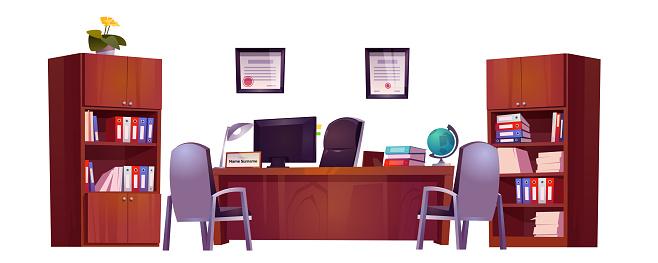 Office interior of school principal or guidance