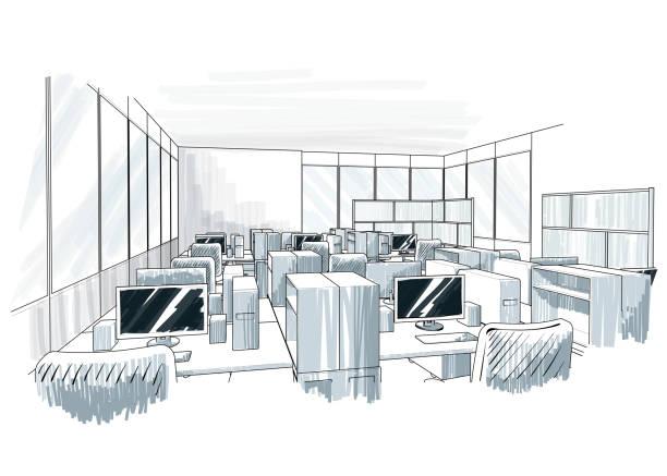 Büroeinrichtung. Offener Raum. – Vektorgrafik