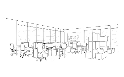 Office interior. Open space . clipart