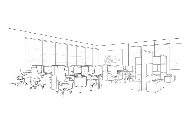 office interior. open space . - office stock illustrations