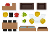 Office interior top. Modern business room topping views of furniture couch chairs desks wardrobe vector realistic objects
