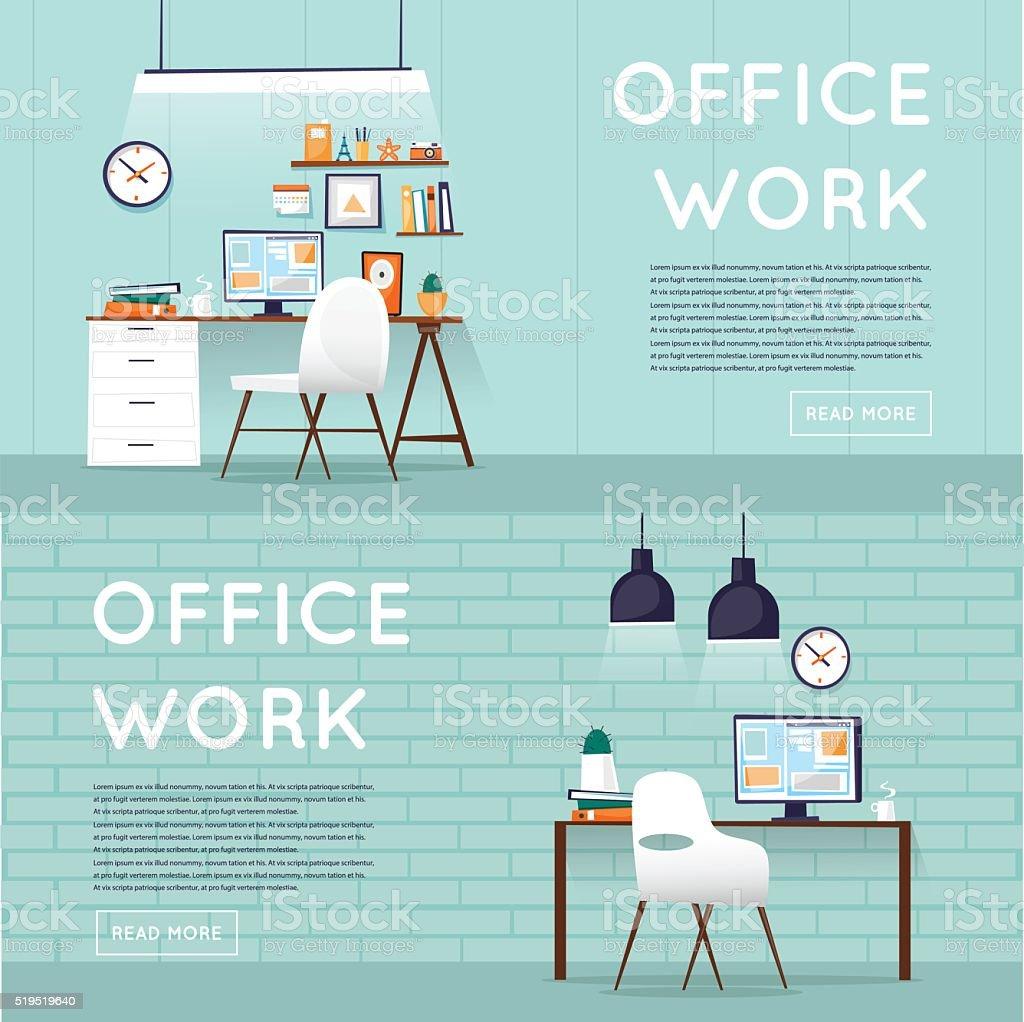 Büro mit designer-desktop, business-Arbeitsbereich im Büro. – Vektorgrafik