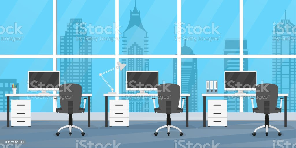 Charmant Office Interior With Furniture Office Desks Chairs And Computers Modern  Business Workplace Or Workspace Design Vector Illustration Stock  Illustration ...
