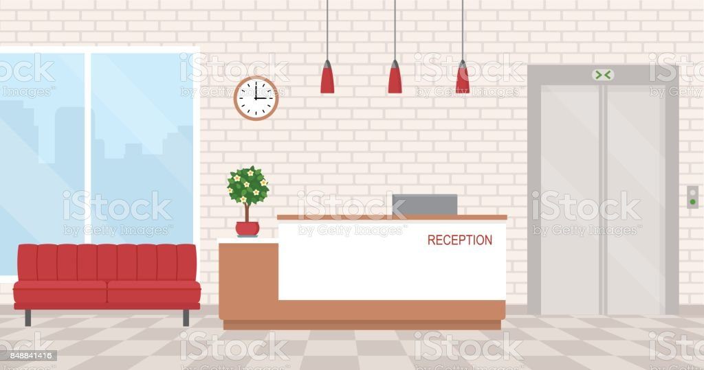 Interior de oficina con recepción y sala de espera. - ilustración de arte vectorial