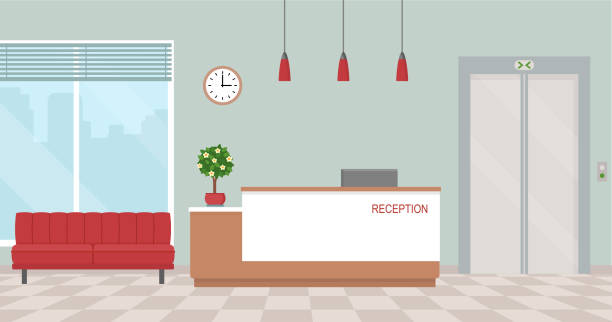 office interior with reception and waiting area. - receptionist stock illustrations, clip art, cartoons, & icons