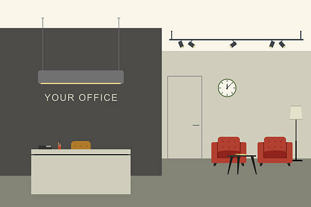 ilustraciones, imágenes clip art, dibujos animados e iconos de stock de office interior with reception - recepcionista