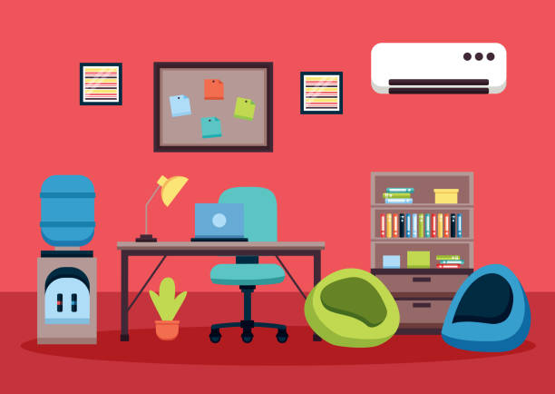 office interior workplace vector art illustration