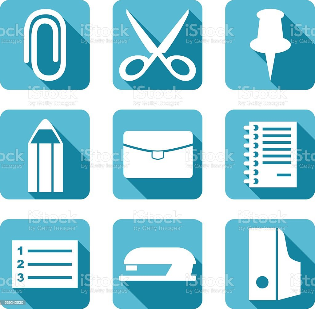 Office item Flat icons set - vector Illustration ilustración de office item flat icons set vector illustration y más banco de imágenes de alfiler libre de derechos