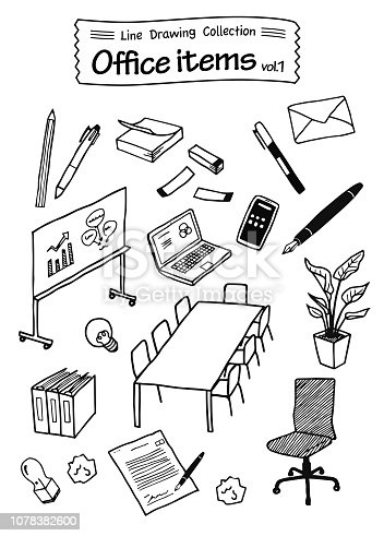Office items 1 -Line Drawing Collection-