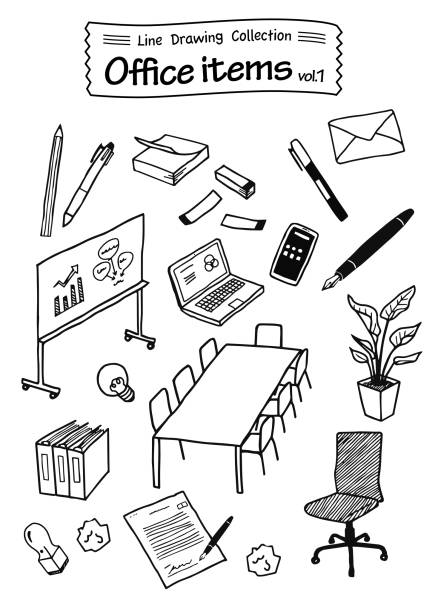 Office items 1 -Line Drawing Collection- Office items 1 -Line Drawing Collection- sketch stock illustrations
