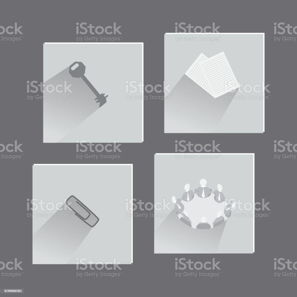Buroartikel Und Konzepte In Der Reihe Von Icons Stock Vektor Art Und