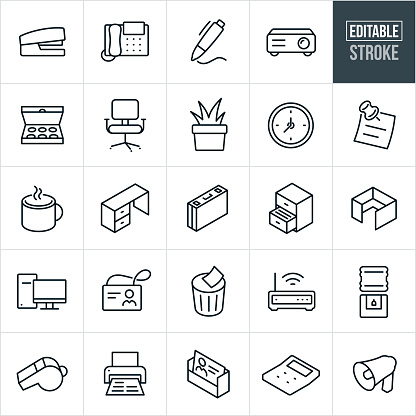 A set of office icons that include editable strokes or outlines using the EPS vector file. The icons include a stapler, office telephone, pen writing, projector, box of doughnuts, office chair, plant, office decor, clock, sticky note, coffee in coffee cup, office desk, briefcase, filing cabinet, cubicle, desktop computer, employee name badge, wastebasket, computer router, water cooler, whistle, printer, business card, calculator and bullhorn.