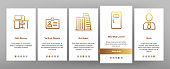 Office Job Onboarding Mobile App Page Screen Vector Icons Set Thin Line. Office Chair And Lamp, File Folder And Paper Clip, Building And Manager Concept Linear Pictograms. Color Contour Illustrations