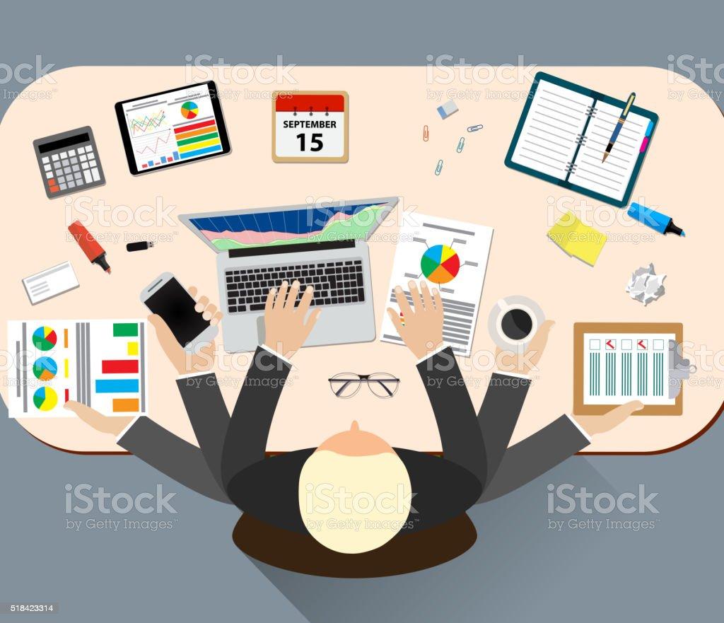 Office job stress work vector art illustration