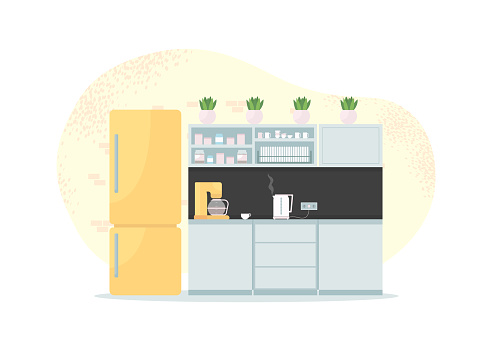 Office kitchen 2D vector web banner, poster