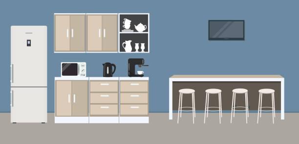 Office kitchen. Break room. Dining room in the office. Interior vector art illustration
