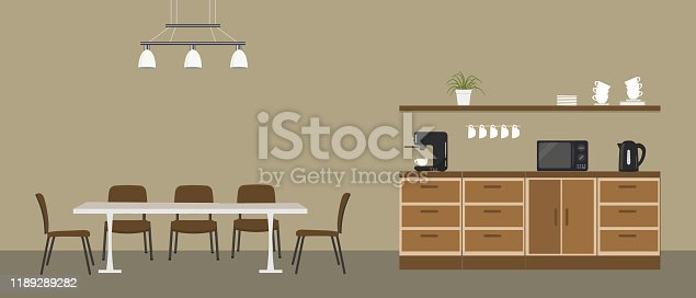 Office kitchen. Break room. Dining room in the office. There are kitchen cabinets, a table, chairs, a microwave, a black kettle and a coffee machine in the picture. Vector illustration.