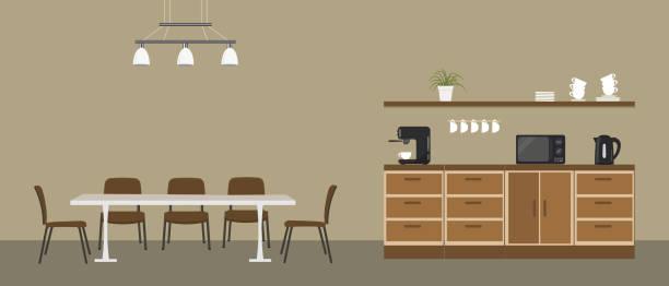 Office kitchen. Break room. Dining room in the office vector art illustration