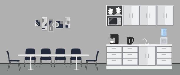 Office kitchen. Dining room in office vector art illustration