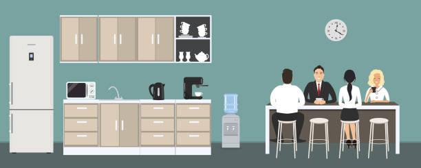 bildbanksillustrationer, clip art samt tecknat material och ikoner med kontor kök. matsalen på kontoret. anställda sitter vid bordet - arbeta köksbord man
