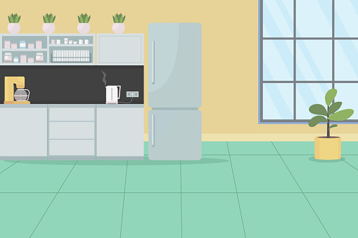 Office kitchen for employees flat color vector illustration