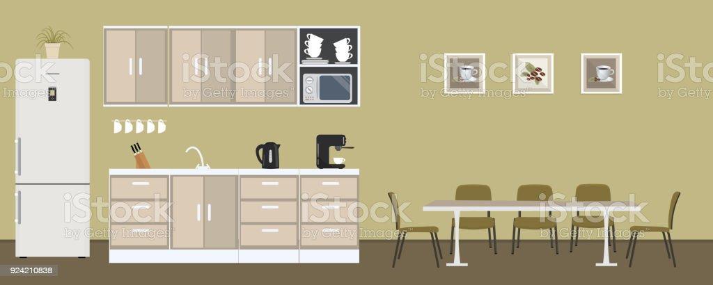 Büro Küche In Grüner Farbe. Esszimmer Im Büro Lizenzfreies Büro Küche In  Grüner Farbe Esszimmer