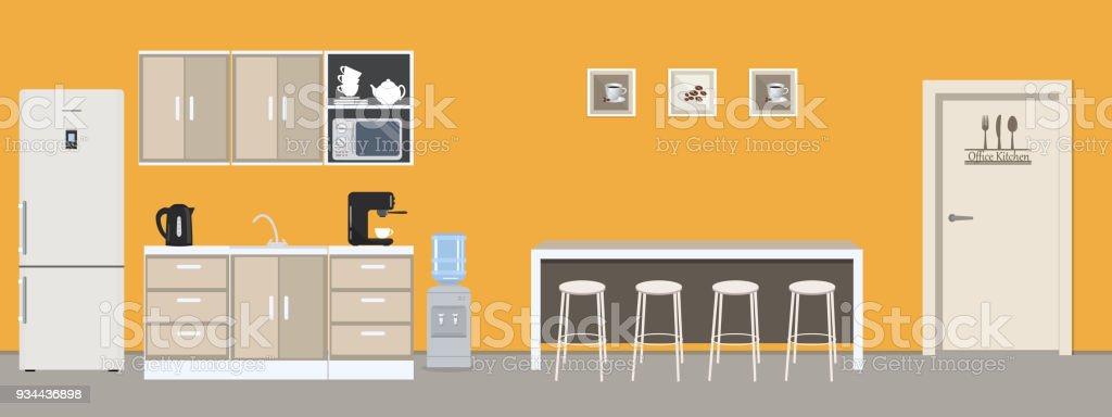 Büro Küche In Gelber Farbe Esszimmer Im Büro Stock Vektor Art und ...