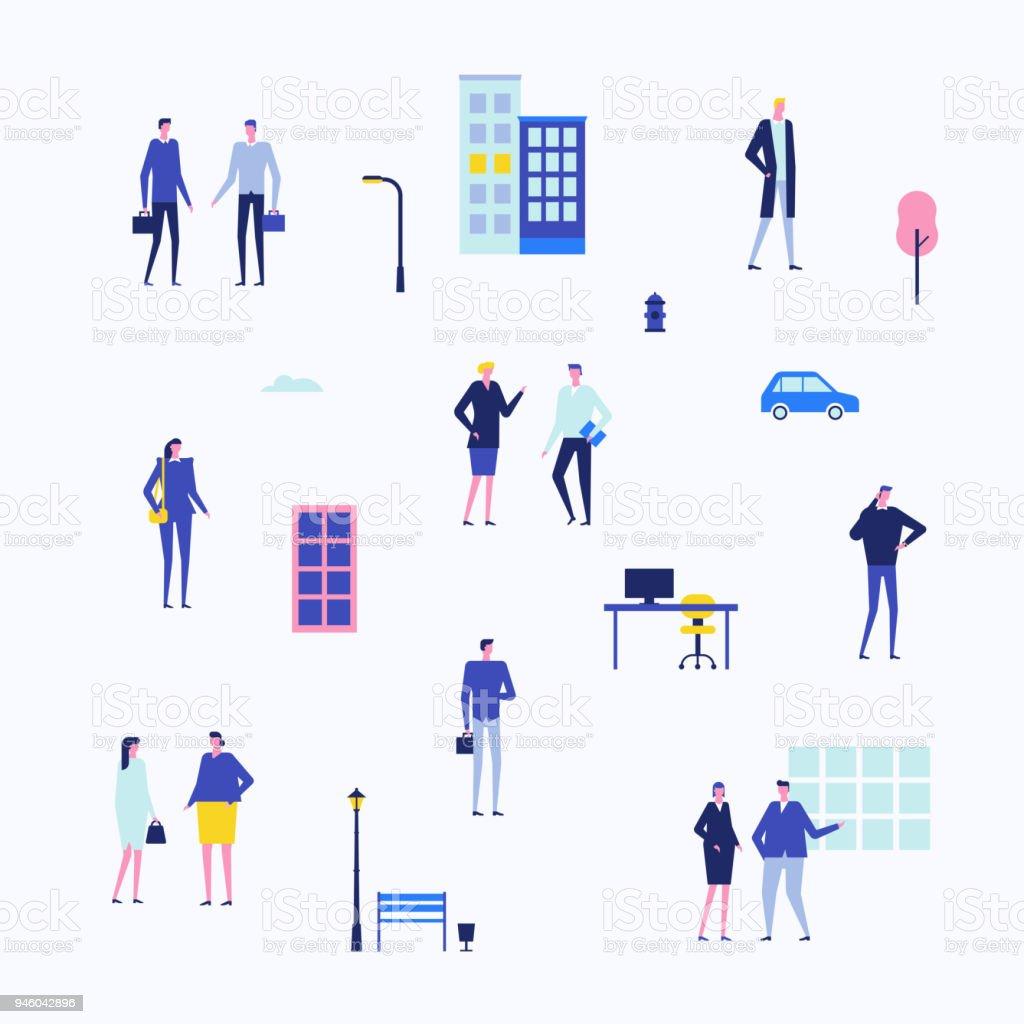 Vie de bureau - design plat style définie des éléments isolés - Illustration vectorielle
