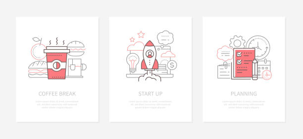 Office life - line design style icons set vector art illustration