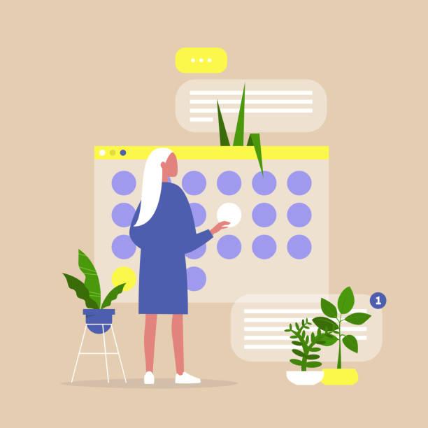 ilustraciones, imágenes clip art, dibujos animados e iconos de stock de vida de oficina, joven gerente que planifica un proyecto en un calendario digital, organizando el proceso de trabajo y los plazos - calendario de naturaleza