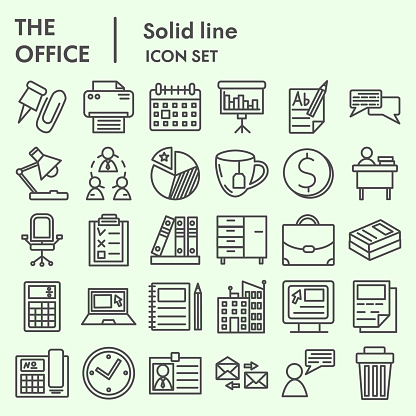 Office line icon set. Company symbols collection or sketches. Business sign for web and mobile concept, linear style pictogram package isolated on white background. Vector graphic.
