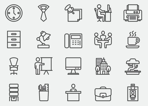 bildbanksillustrationer, clip art samt tecknat material och ikoner med office line ikoner | eps10 - bord