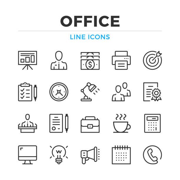 office-line-symbole festgelegt. moderne gliederung elemente, grafik-design-konzepte. schlaganfall, linearen stil. einfache symbole sammlung. vektor-linie-icons - büro zukunft und niemand stock-grafiken, -clipart, -cartoons und -symbole