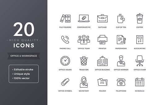 Office Line Icons clipart