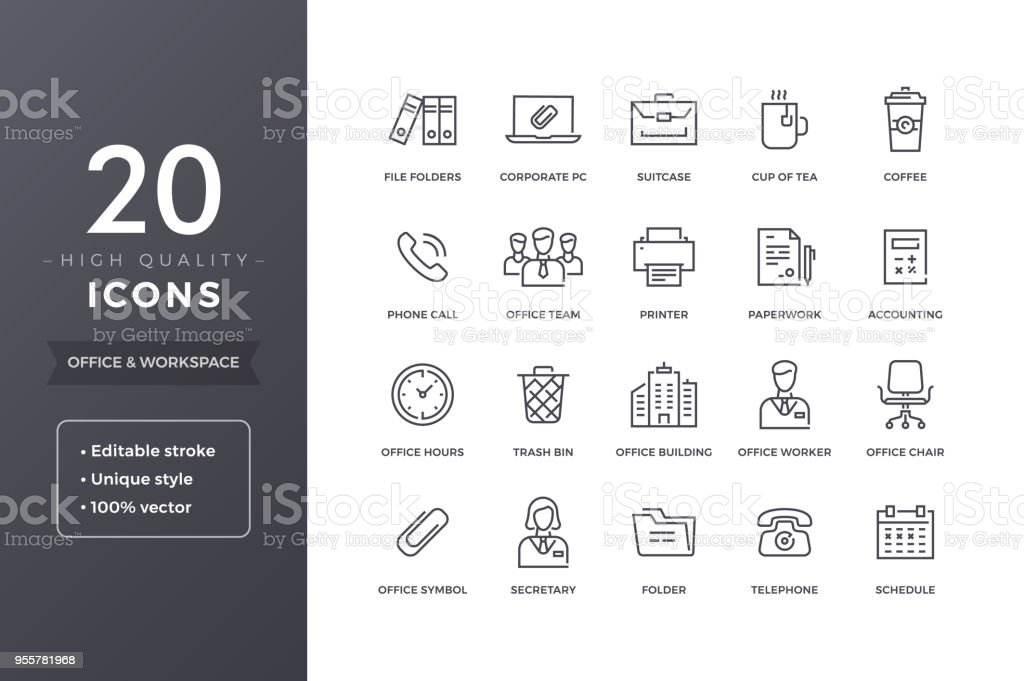 Office Line Icons vector art illustration