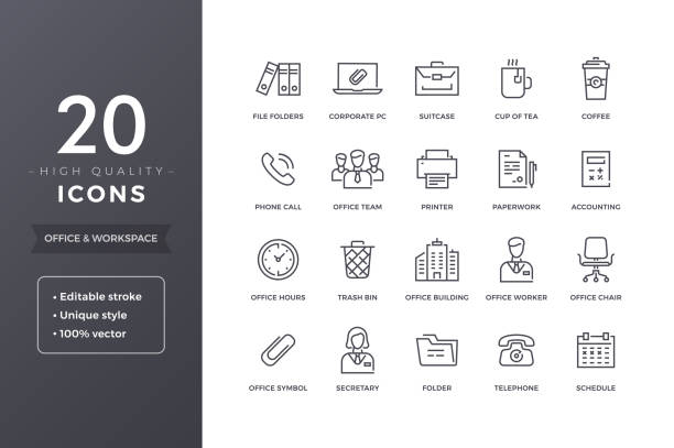 office line icons - office stock illustrations