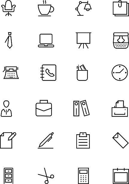 büro linie vektor-icons 1 - laptoptaschen stock-grafiken, -clipart, -cartoons und -symbole