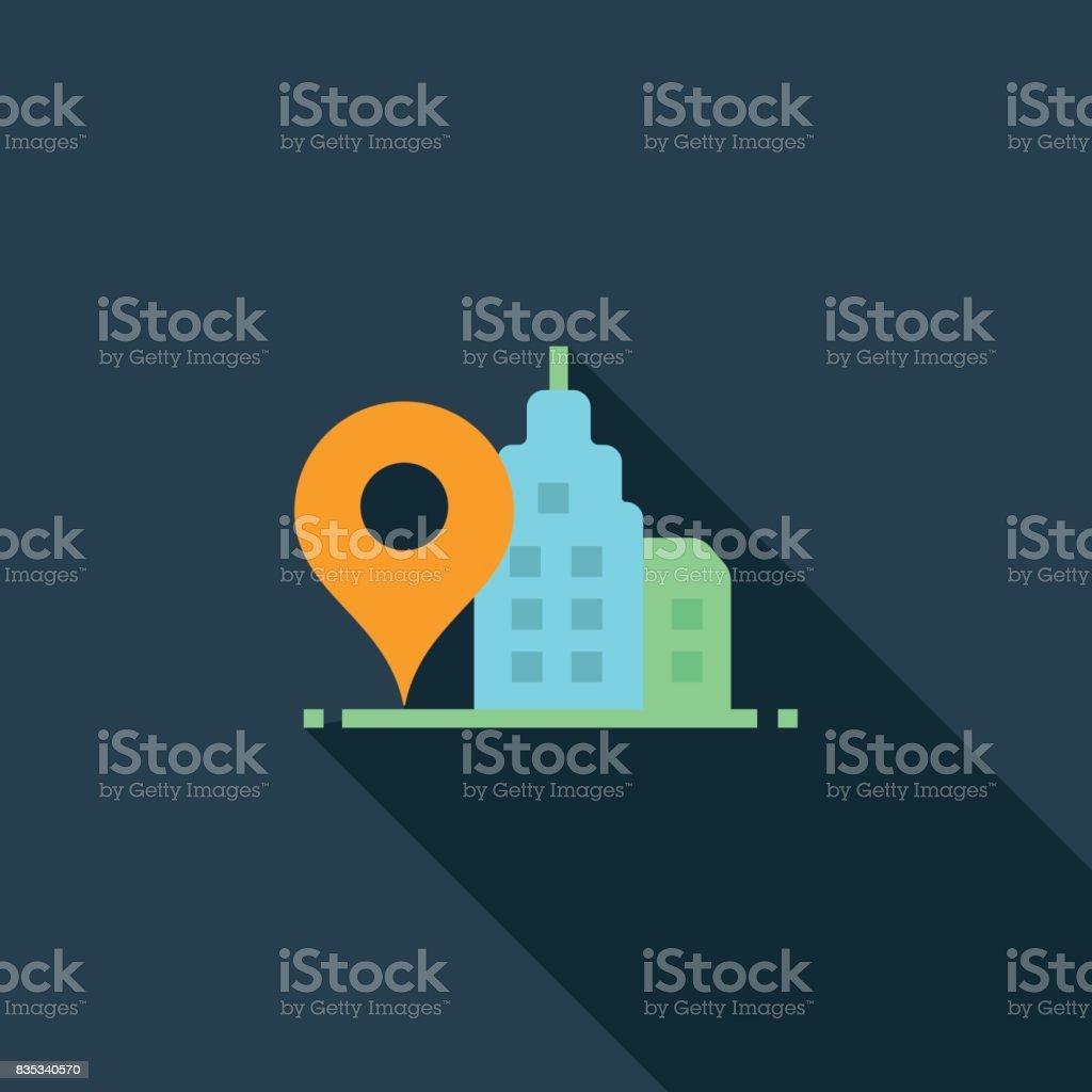 Office Location Flat Icon vector art illustration