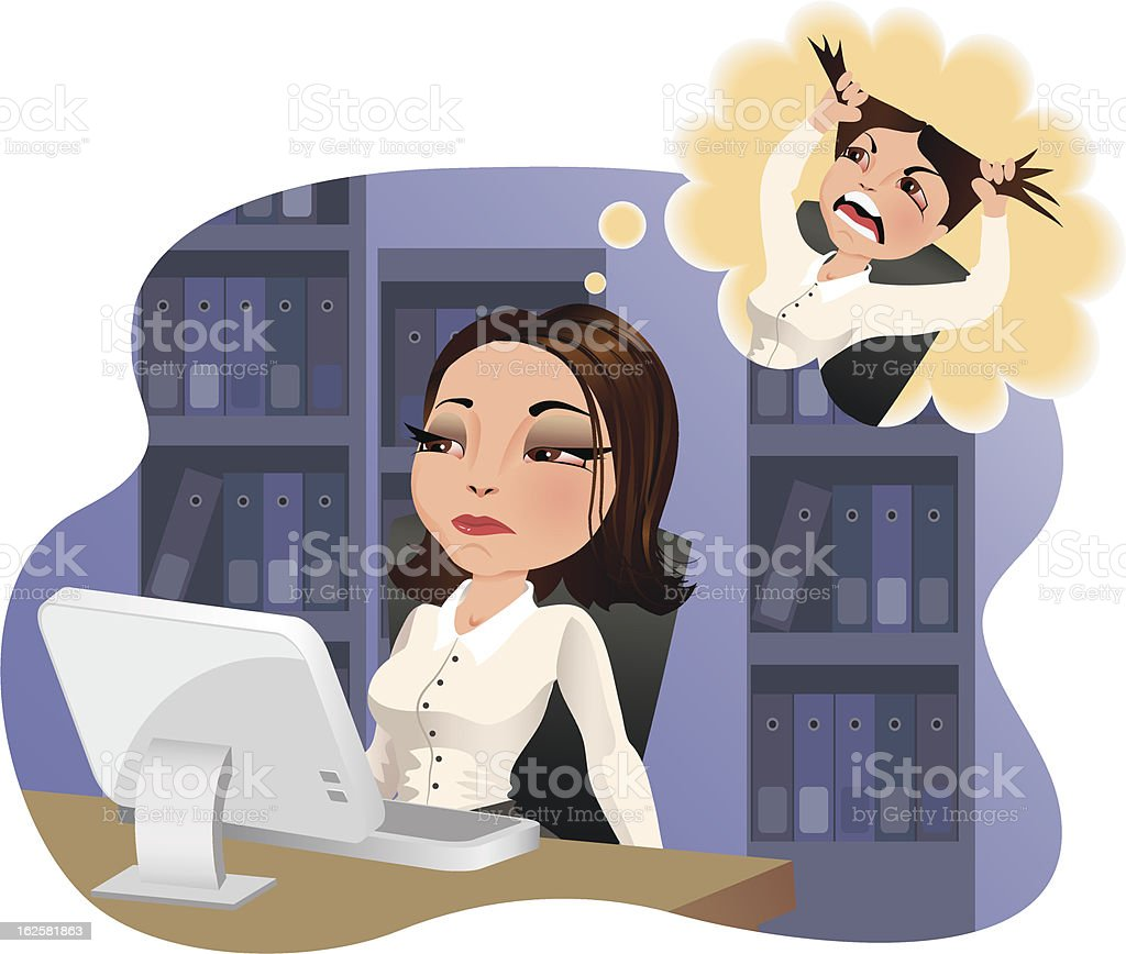 Office Madness and Stress vector art illustration