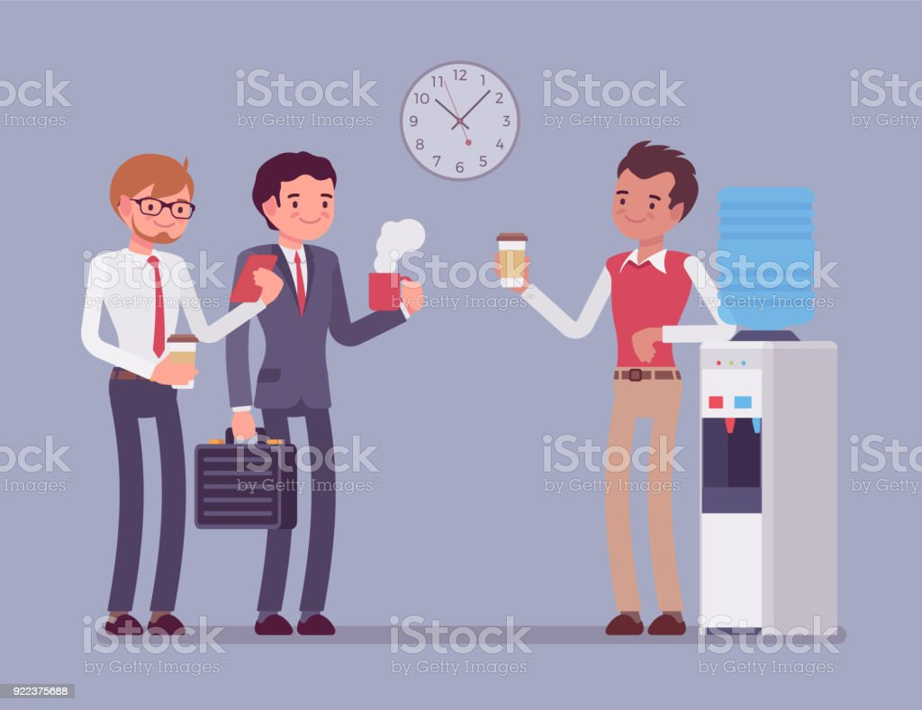 Office male cooler chat vector art illustration
