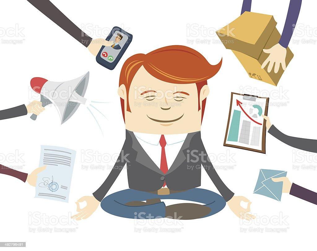 Lavoro Ufficio Clipart : Ufficio uomo meditare nel centro di una giornata intensa