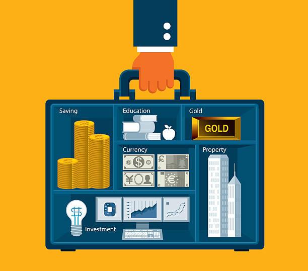 büro mann mit einer aktentasche - mappen stock-grafiken, -clipart, -cartoons und -symbole