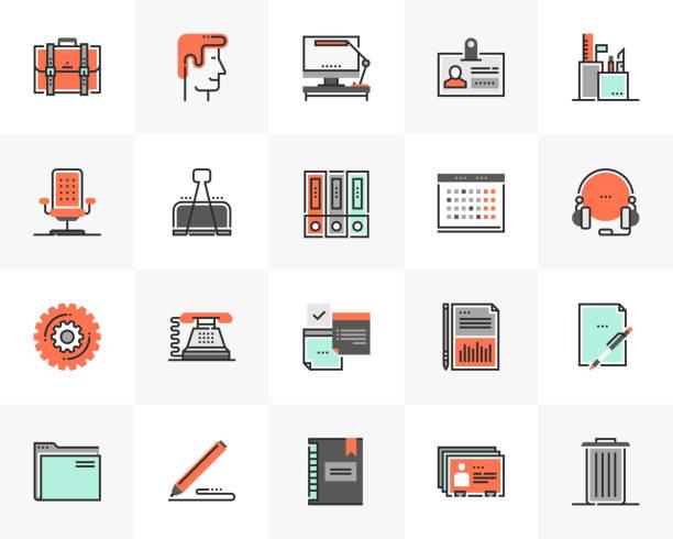 Office Management Futuro Next Icons Pack vector art illustration