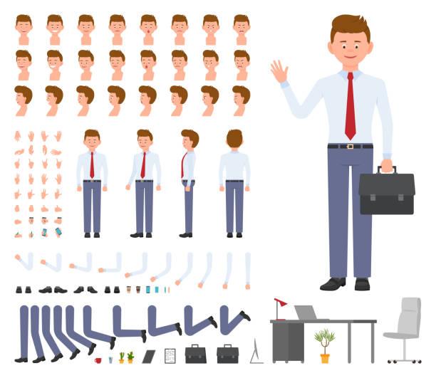 Office Manager Cartoon Charakterdesign Konstruktor festgelegt. Junge Erwachsene Arbeiter in Business-Kleidung mit Aktentasche stehen auf weißem Hintergrund - Vektor – Vektorgrafik