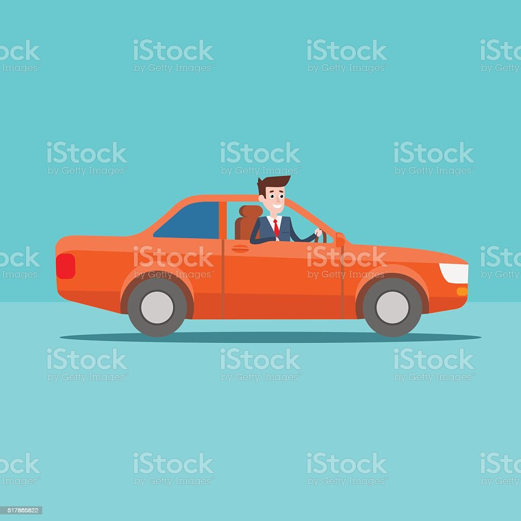 Office manager character rides in the car vector art illustration