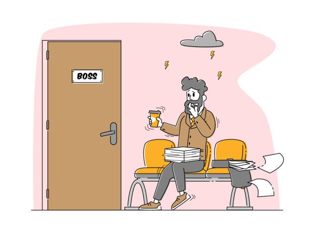 bildbanksillustrationer, clip art samt tecknat material och ikoner med office manager eller affärsman sitter framför dörren till boss cabinet svettning och känsla rädsla, panic attack disorder - endast en man